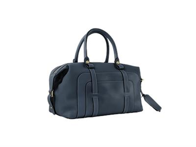 Luxury Small Leather Holdall Navy